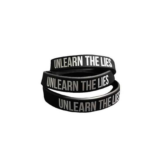 Black Unlearn The Lies wristband