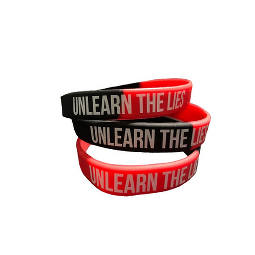 Black/Red Unlearn The Lies wristbands (3-pack)