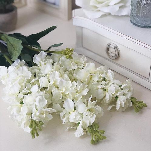 Small Flocked Stock Flower - White