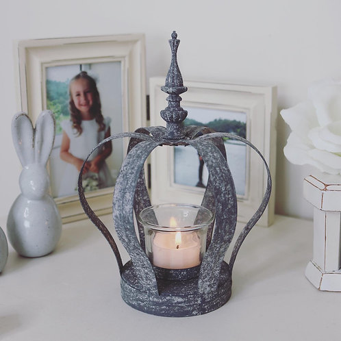Zinc Distressed Crown Candle Holder