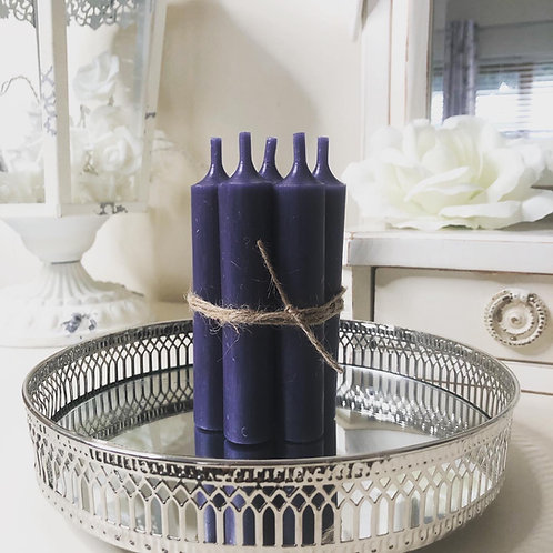 Vintage Dark Blue Short Dinner Candle - Set 5