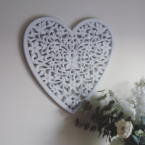 Distressed White Floral Wall Heart Plaque