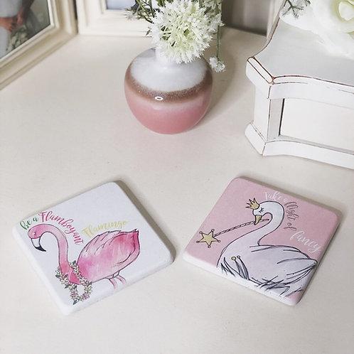 Flamingo and Swan Coaster Set