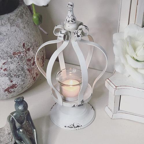 Distressed Antique Crown Cream Tea-Light Candle Holder