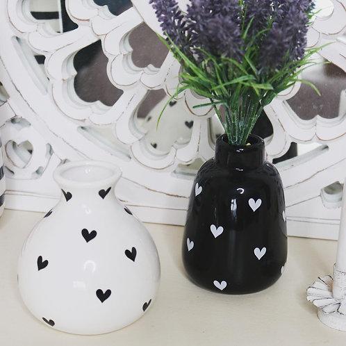 Black and white heart design bud vases