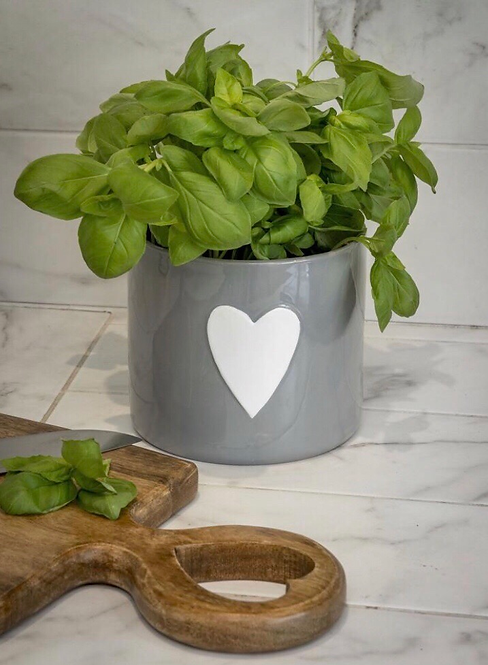 Large Grey Ceramic Flower Pot with Heart