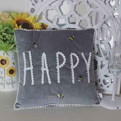 Grey Velvet Happy Bee Cushion