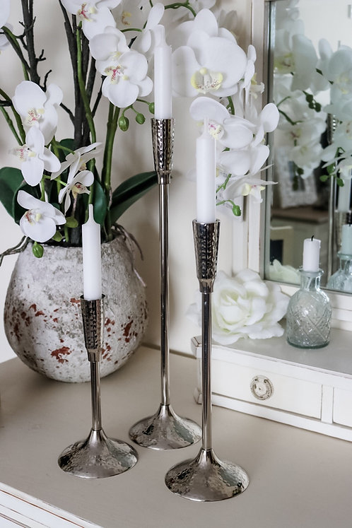 Silver Tulip Candlestick Holders