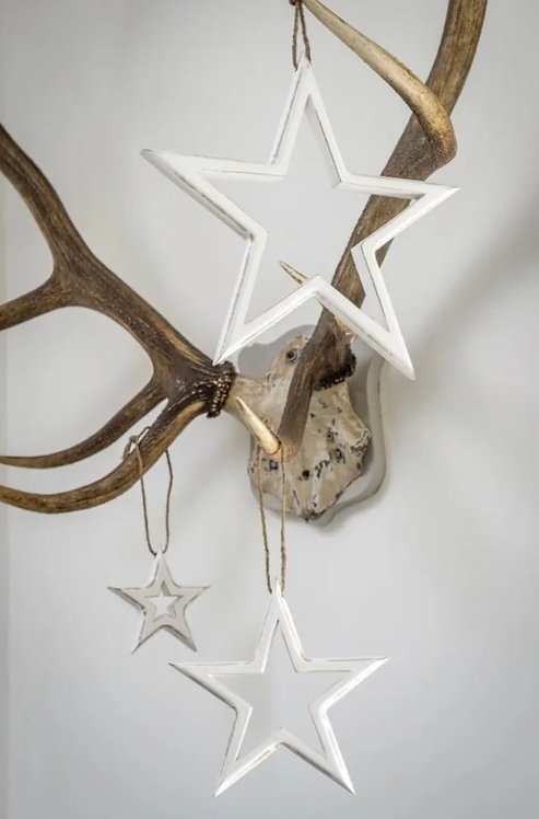White Cut Out Stars - Set of Three