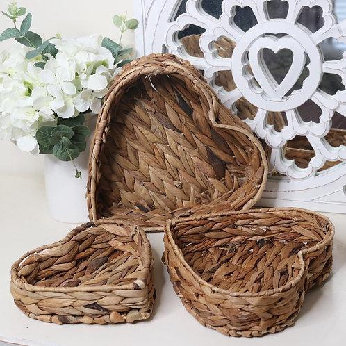 Set of 3 Woven Heart Trays