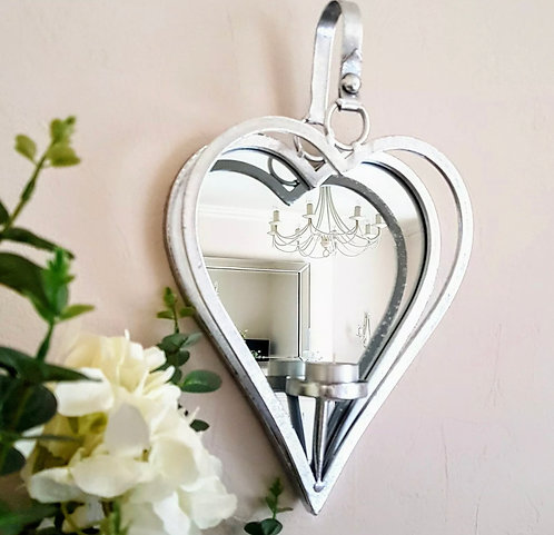 Silver Heart Mirrored Wall Candle Holder