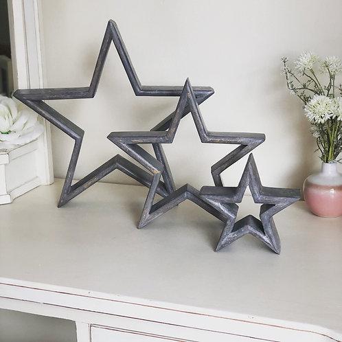 Set of 3 Grey Mango Wood Mantelpiece Stars