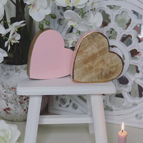 Pink Sleepy Wooden Gloss Hearts…Set of 2