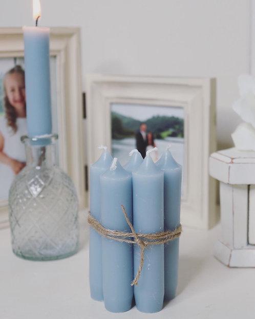Short dinner candle light blue - Bundle of 5