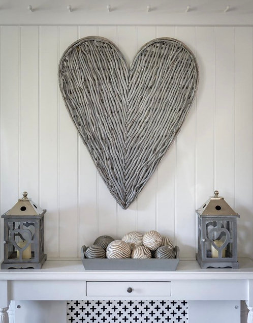 Large Grey or White Wicker Heart