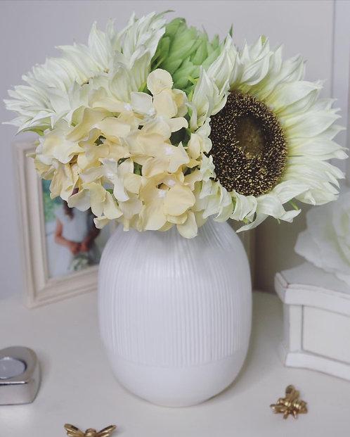 Pink or White Sleek Ribbed Vase