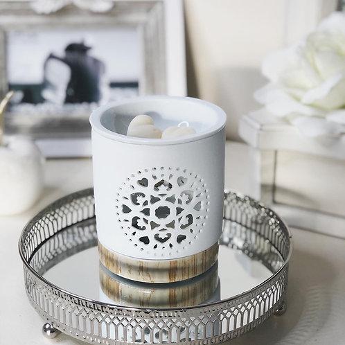 Ceramic White Mandala Cut out Wax/Oil burner