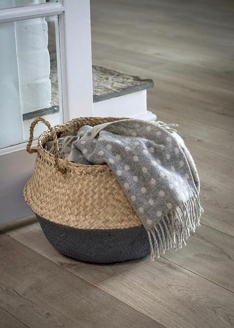 Handmade Grey Dip Seagrass Basket