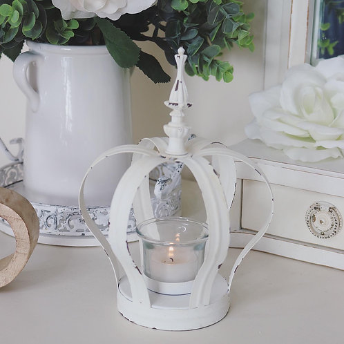 Cream Distressed Crown Candle Holder