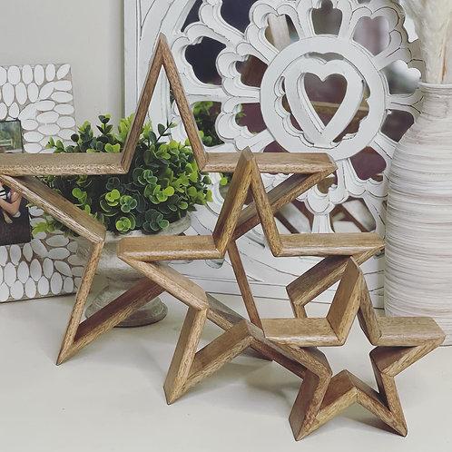 Set of 3 Natural Mango Wood Mantelpiece Stars
