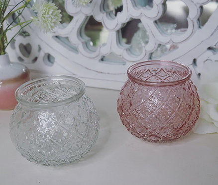 Pink or Clear Floral Pattern Bud Vase/ Tealight Holder