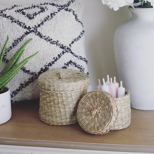 Seagrass Basket with Lids - Set of 2