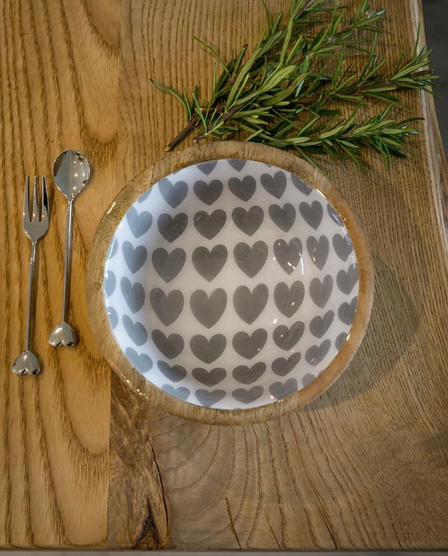 Mango Wood Enamel Heart Bowl