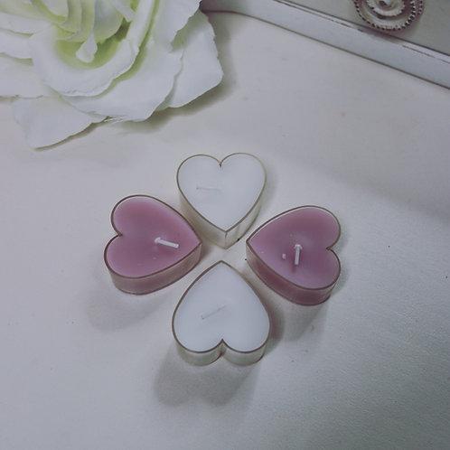 Set of 4 Heart Tea Lights - White or Pink