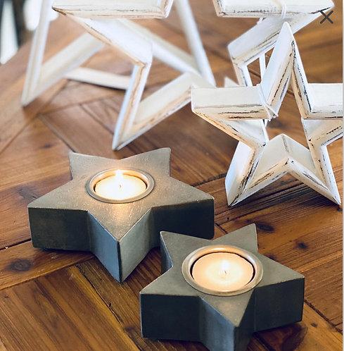 Set of 2 Grey Wooden Star Tea light Holders