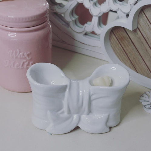White Bow Design - Double Ceramic Wax Melter
