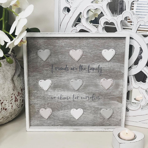 Framed 3D Heart Plaque Friends are the Family.....