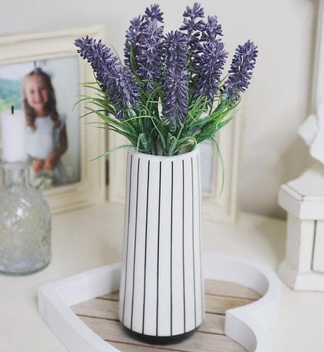 Small Ceramic  Monochrome Striped Vase