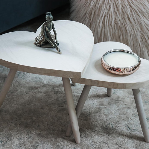 Heart Shaped Mini Wooden Side Tables