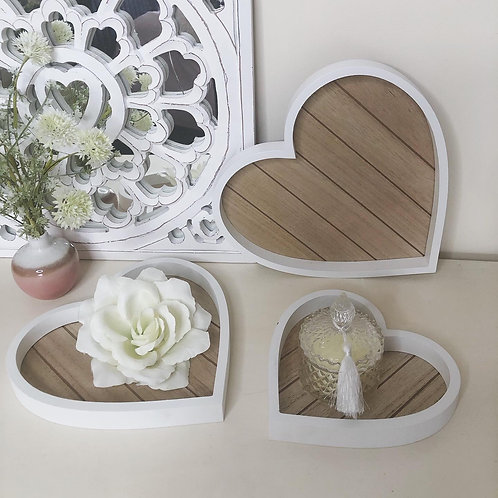 Wooden Shabby Chic Heart Trays
