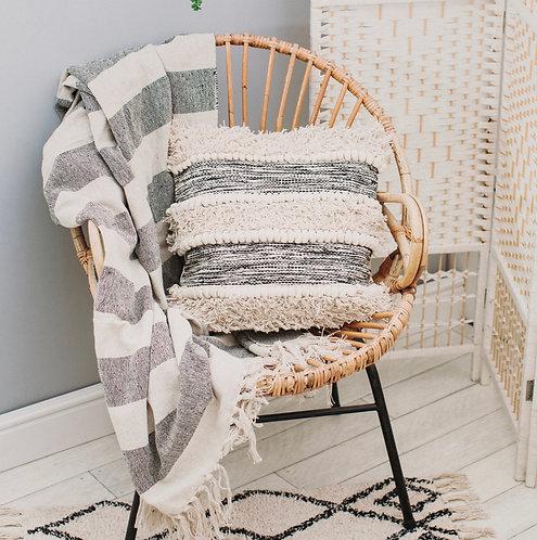 Scandi Boho Tufted Striped Cushion