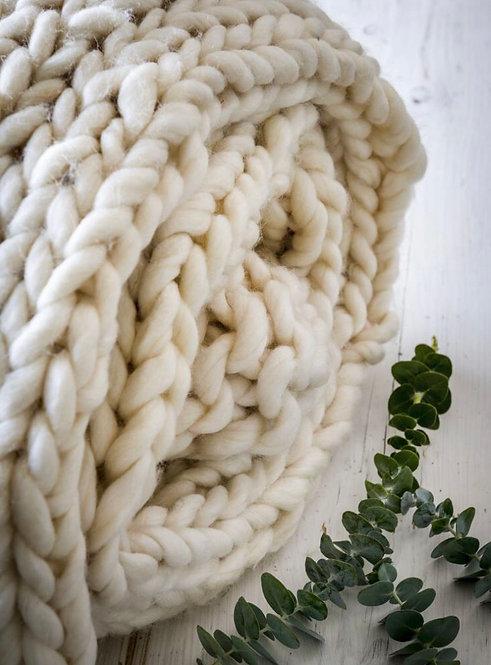 Cream Hand Knitted Chunky Throw