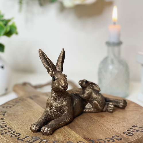 Laying Hare & Baby Bronzed Ornament