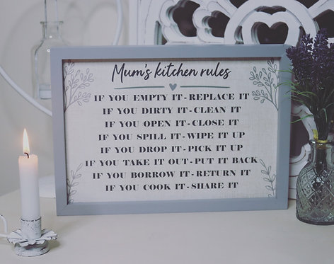Mum's Kitchen Rules Framed Sign