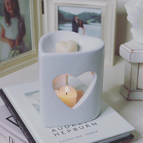 Ceramic White cut out Heart Burner