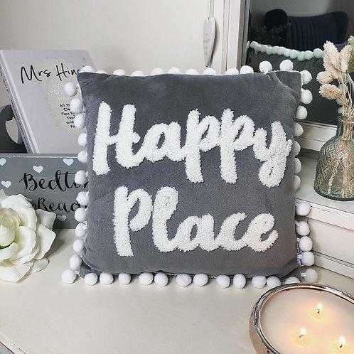 Happy Place Pom Pom Cushion