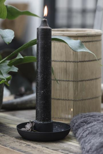 Rustic Black Metal Candle holder & Large Candle