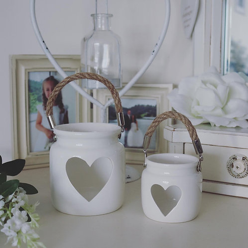 Pair of Porcelain Heart Lanterns