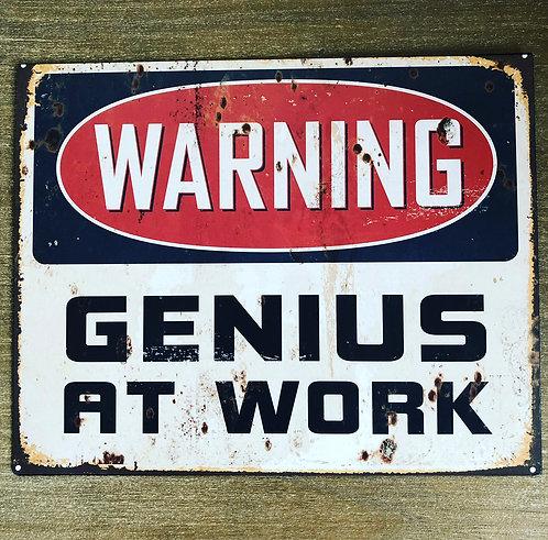 Warning Genius Metal Retro Plaque