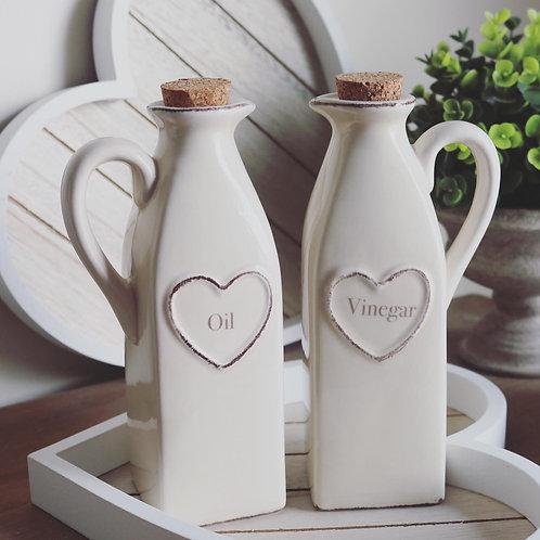 Shabby Chic Cream  Heart Design Oil And Vinegar Dispenser Set