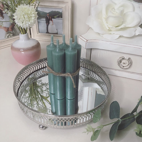 Olive Green Short Dinner Candles - Set 5