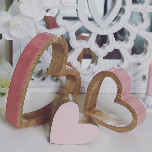 Sleepy Wooden Pink Gloss Hearts…Set of 3