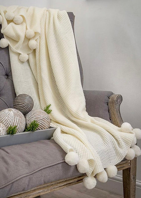 Knitted Pom Pom Throw 3 colours availble