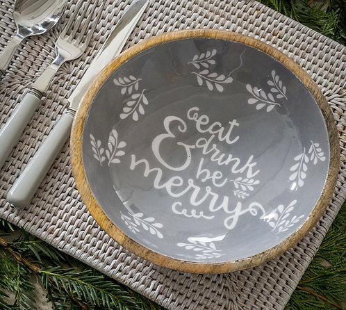 Mango Wood Enamel Christmas Edition Bowl