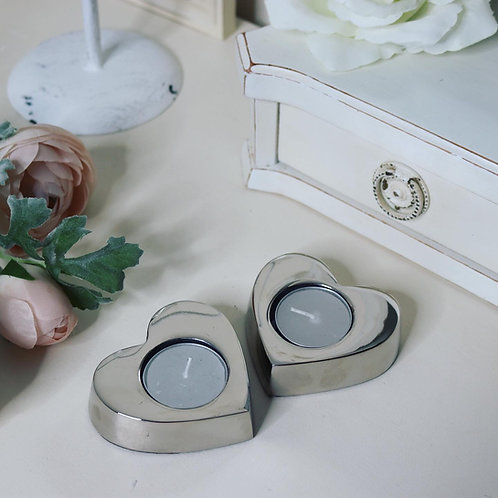 Chunky Silver Heart Tealight Candle Holder