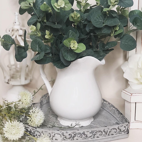 French Inspired White Scalloped Jug